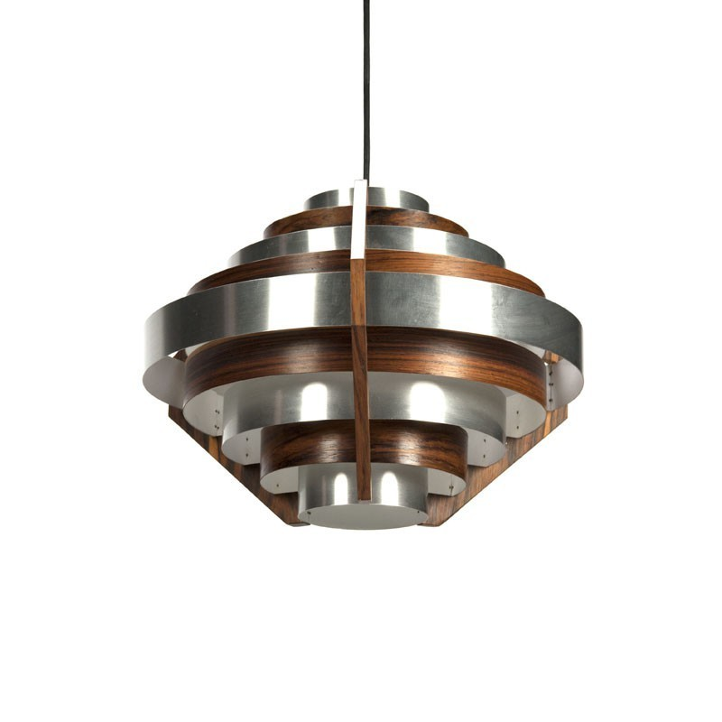 Aluminium hanging lamp with rosewood details