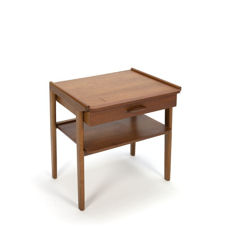 Teak nightstand with drawer