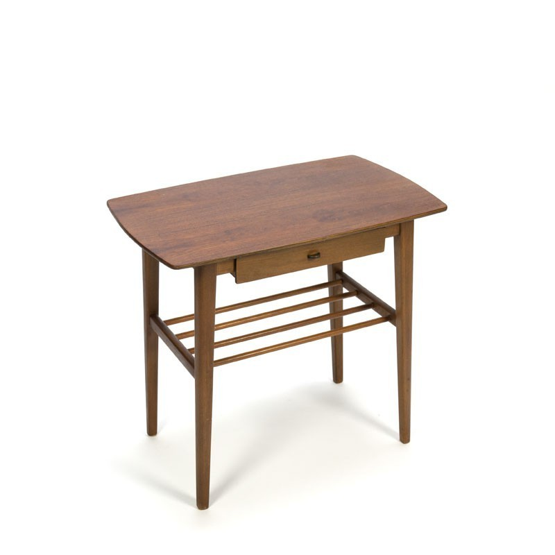 Teak side table small drawer