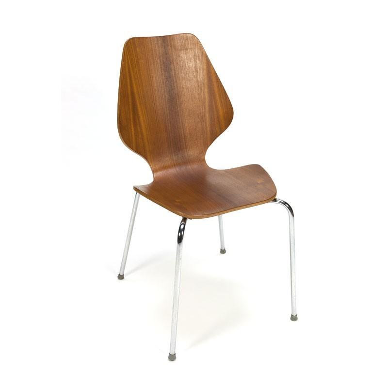 Set van 4 gebogen houten Deense eettafel stoelen