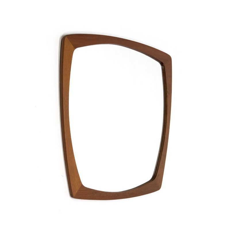 Deense spiegel met teakhouten rand