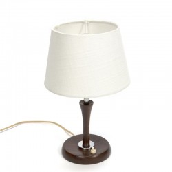 Small table lamp with teak base