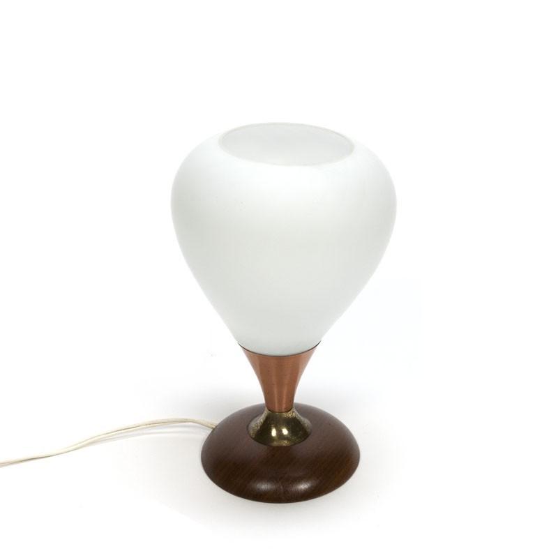 Tafellamp met glazen kelk jaren 50