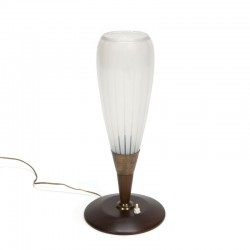 Table lamp with high glass shade 1950s