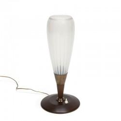 Tafellamp met hoge glazen kelk jaren vijftig