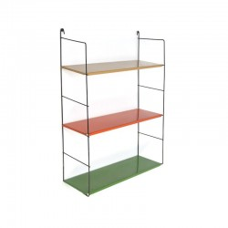 Metal wall rack with colored shelves