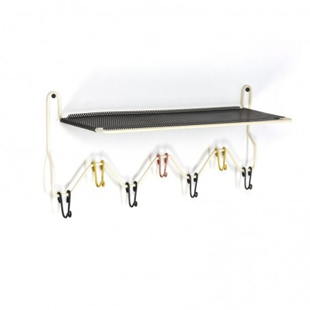 Coat rack with perforated shelf