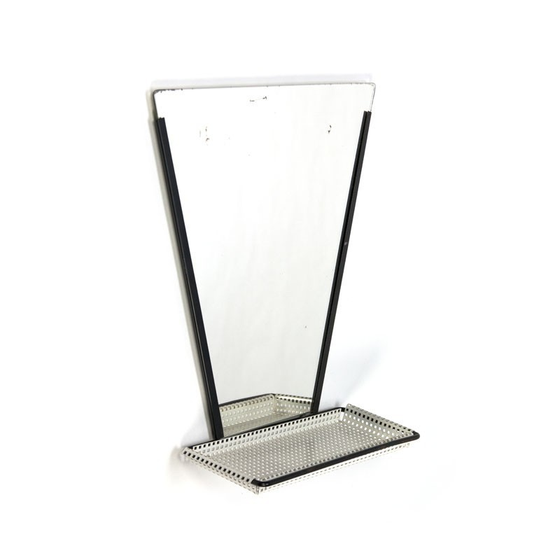 Mirror with perforated metal shelf