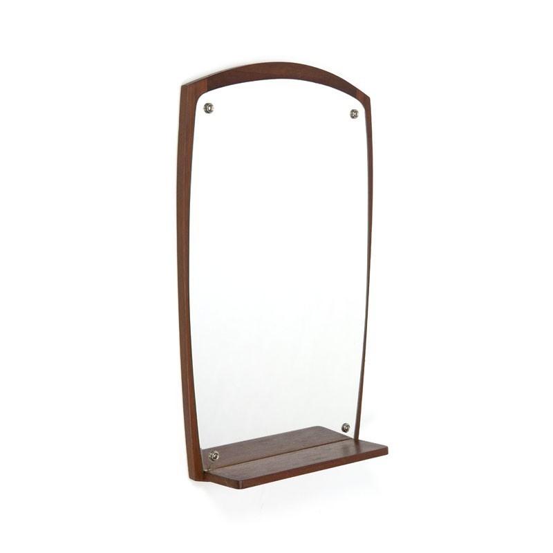 Deense spiegel met teakhouten plankje