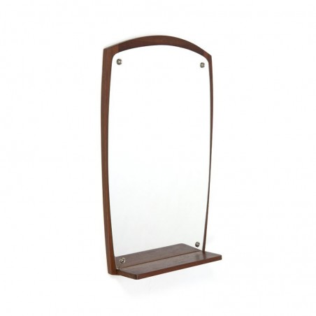 Danish mirror with small teak shelf