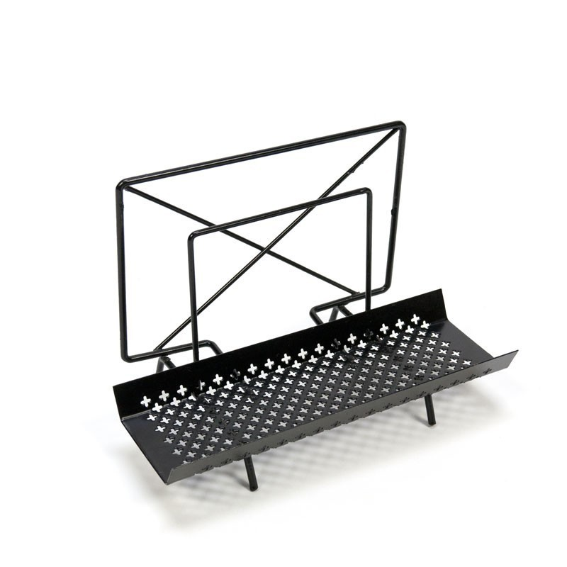 Black letter holder with perforated metal