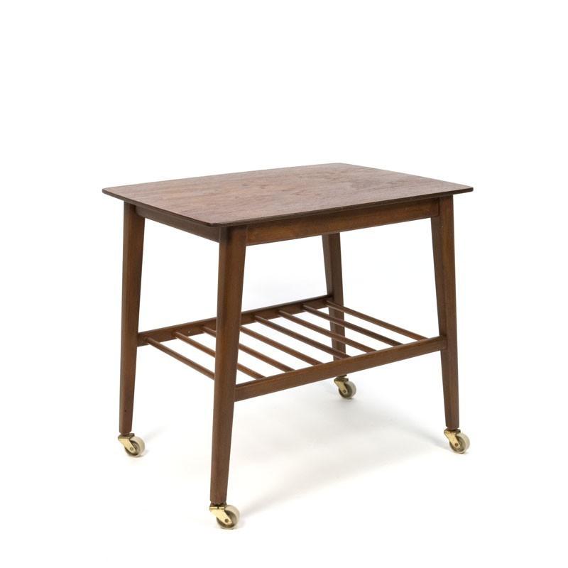 Danish side table on wheels