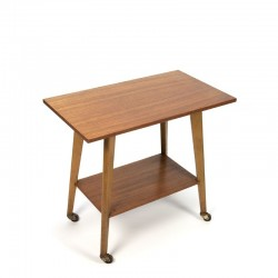 Teak side or television table on wheels