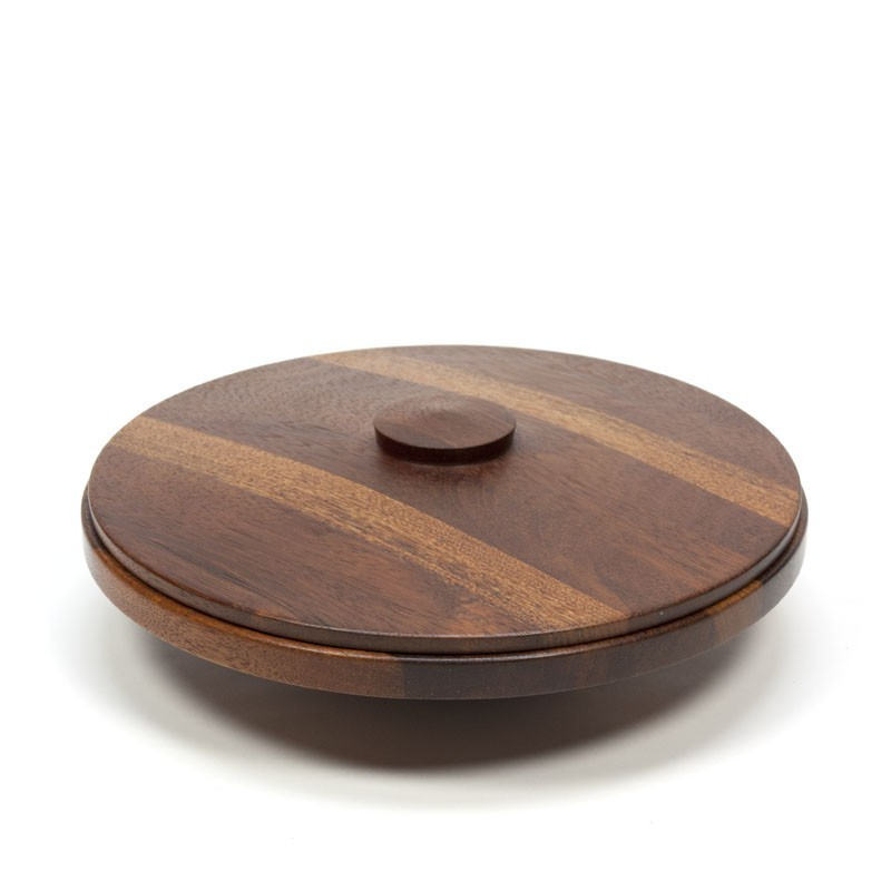 Large teak bowl with lid