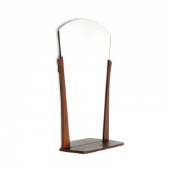 Danish teak mirror with narrow shelf