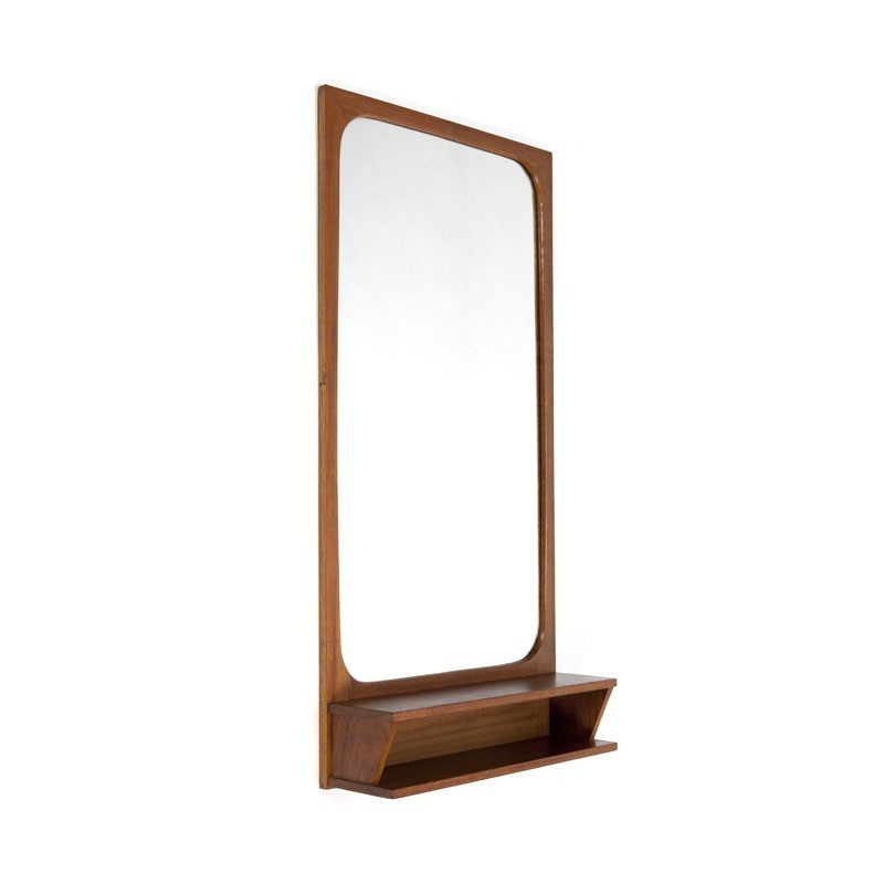 Danish teak mirror with small storage space