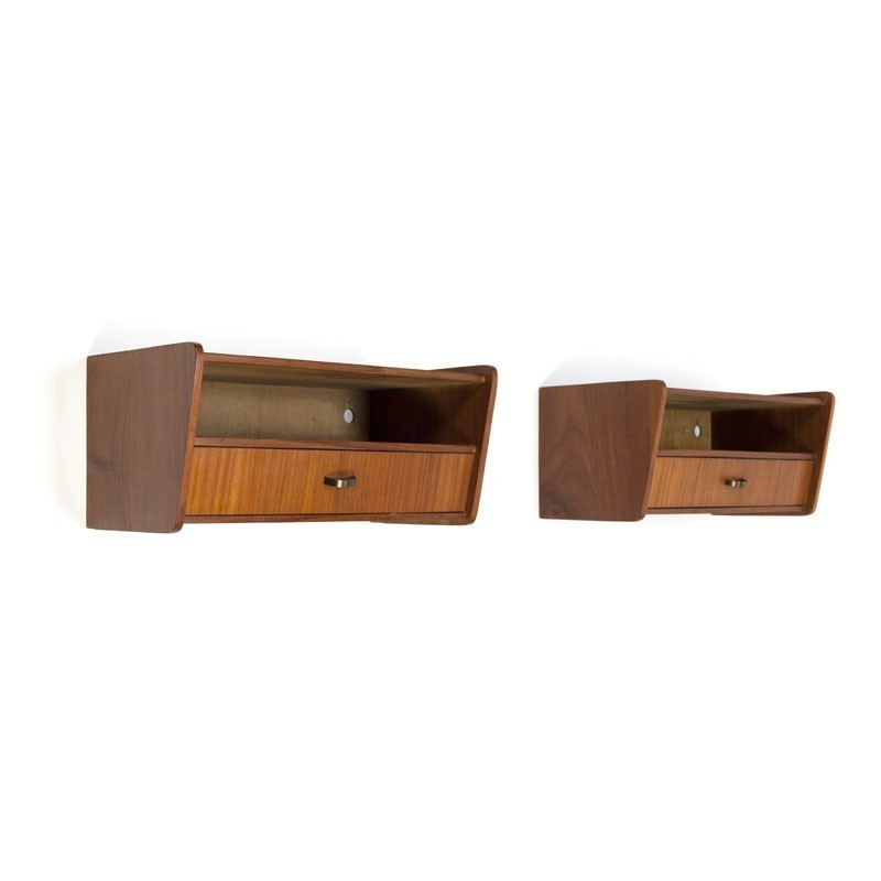Set of two wall bedside tables in teak