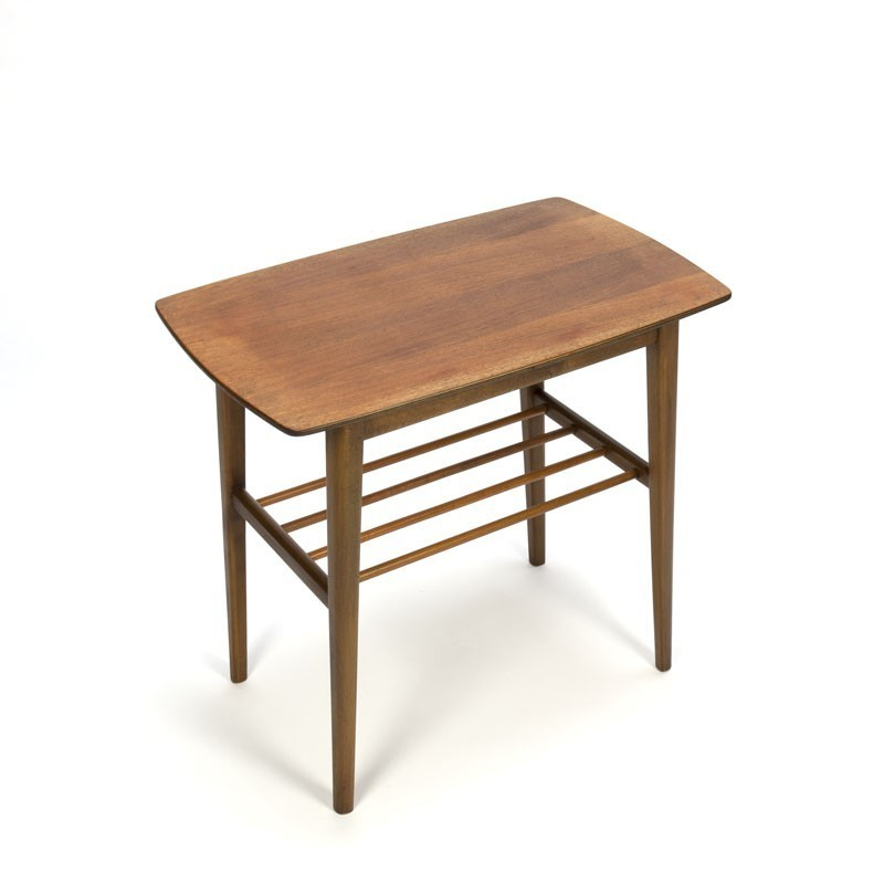 Teak side table with round bars