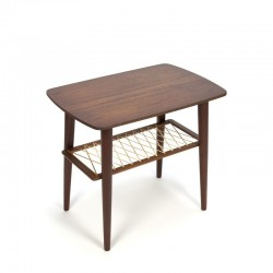 Teak side table with wire