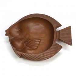 Grote teakhouten design schaal vis