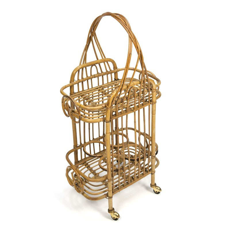 Bamboo bar trolley from the sixties