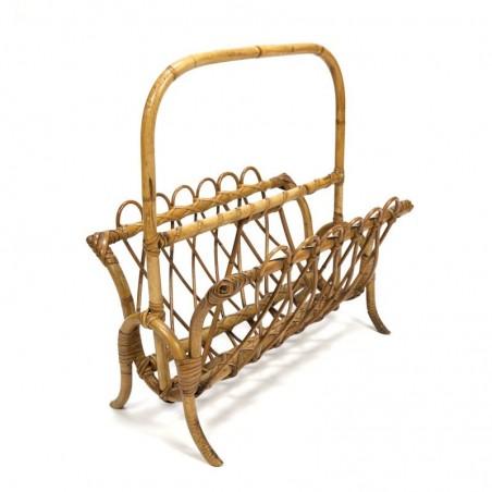 Magazine rack with woven bamboo