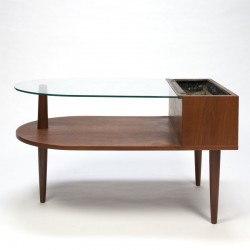Teak planter with glass top