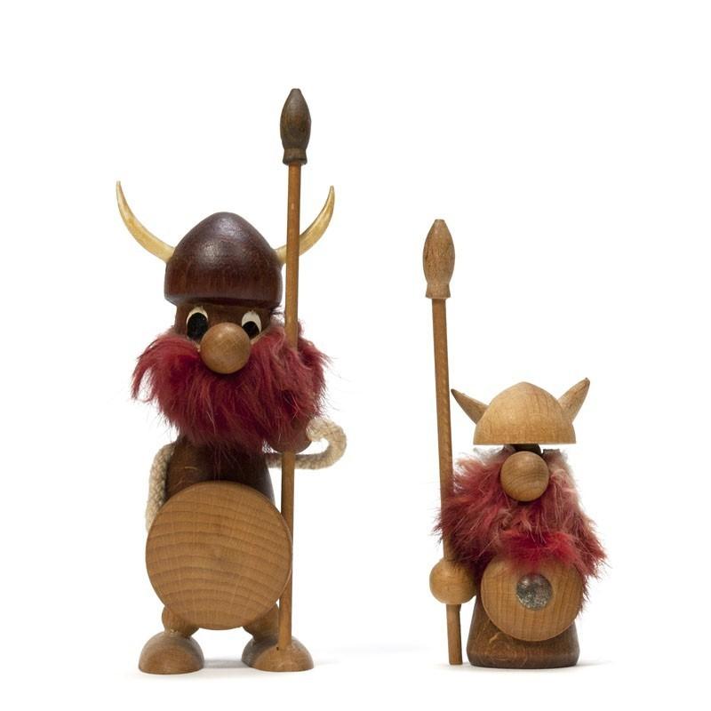 Set van 2 kleine Noorse houten Vikingen