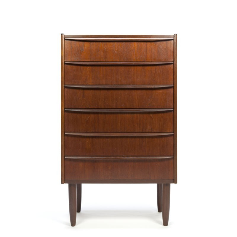 Slim model teak chest of drawers