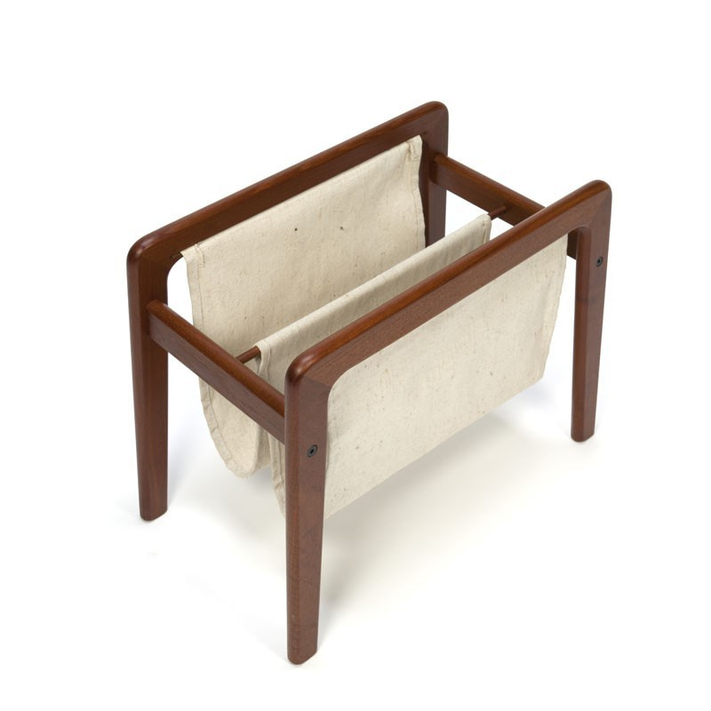 Danish newspaper rack with teak and jute
