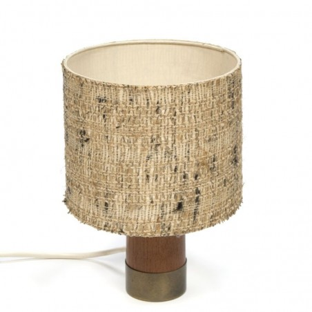Small table lamp with teak base and fabric shade