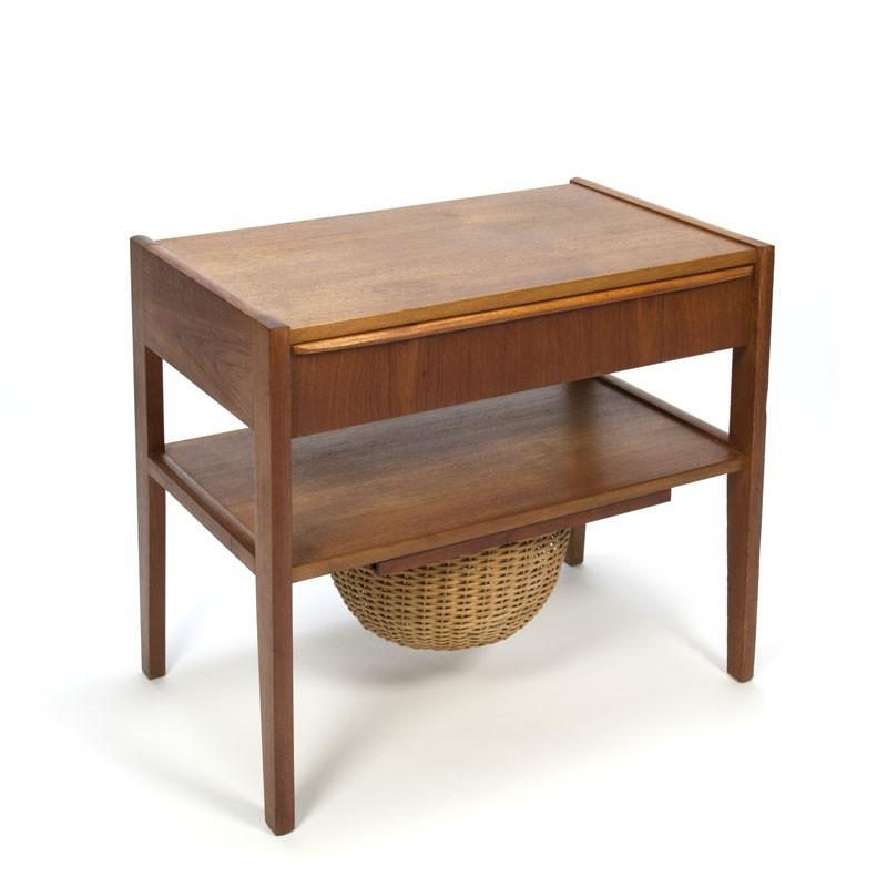 Danish teak side table with wicker basket