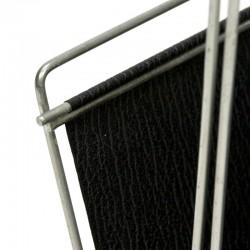 Vintage newspaper rack with black skai