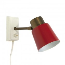 Vintage wall lamp with red shade