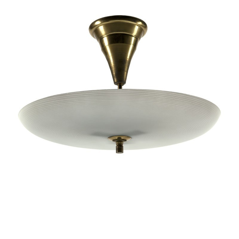Large ceiling lamp with glass and brass