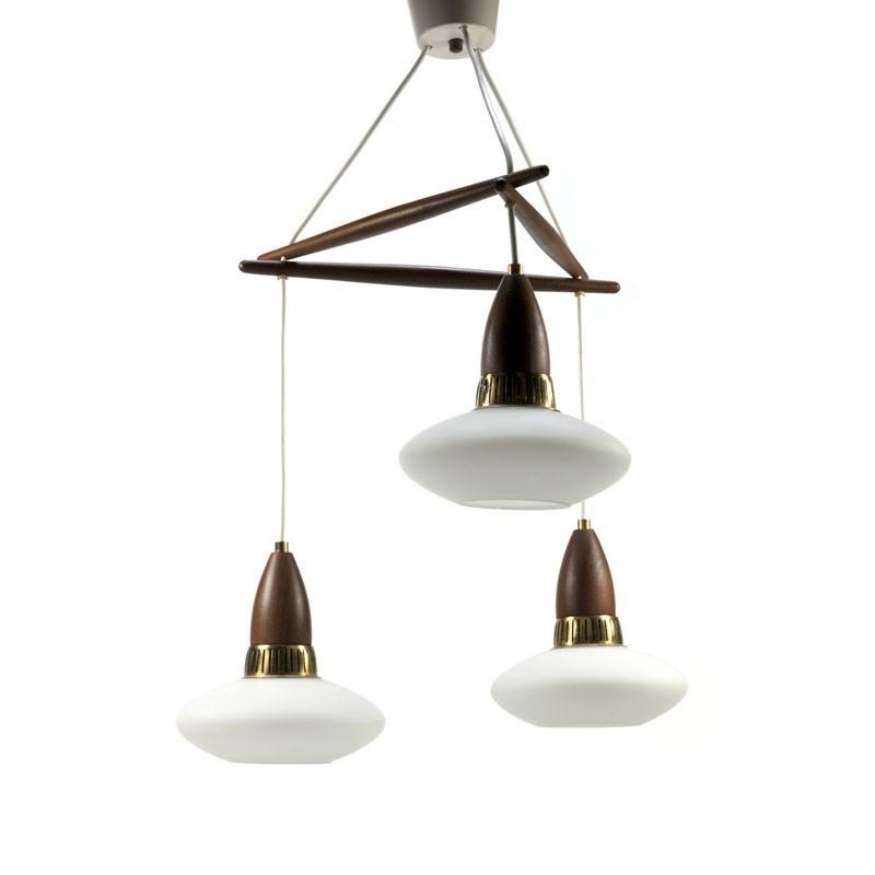 Vintage hanglamp glas met teak