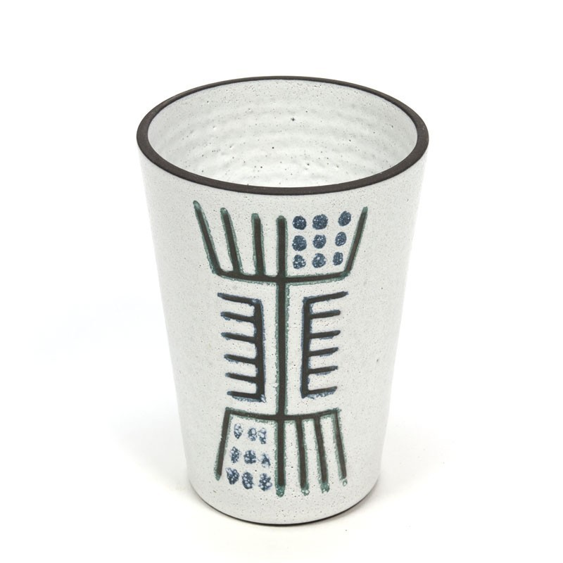Vintage vase with abstract image