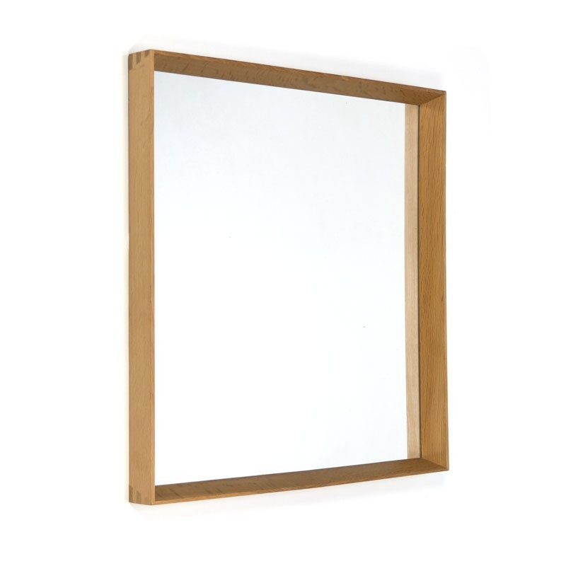 Danish vintage oak mirror square