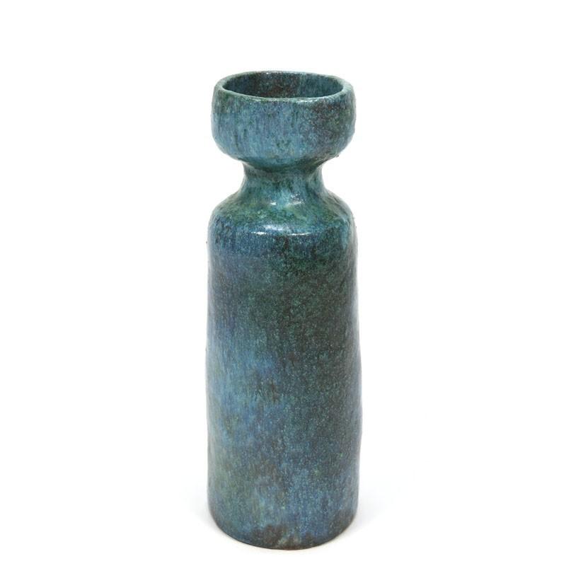 Blauw aardewerken vaas