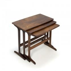 Vintage set bijzettafeltjes/ nest tafeltjes in palissander hout