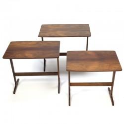 Vintage set sidetabels/ nesting tables in rosewood
