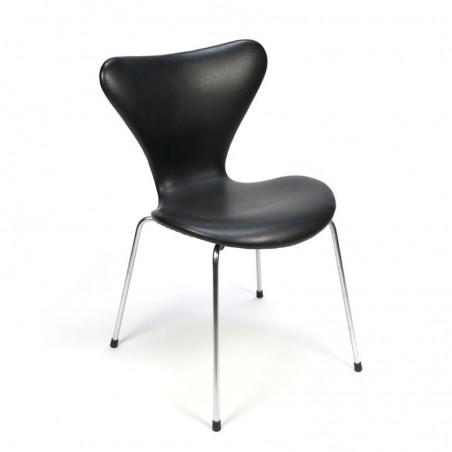 Vintage Arne Jacobsen chair with black skai
