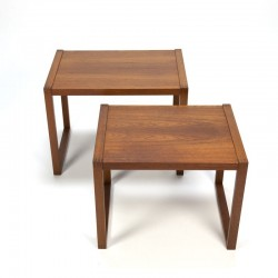 Vintage set of 2 teak side tables