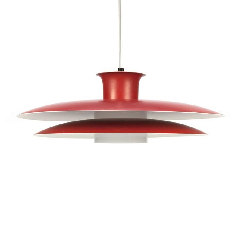 Vintage Deense design hanglamp rood