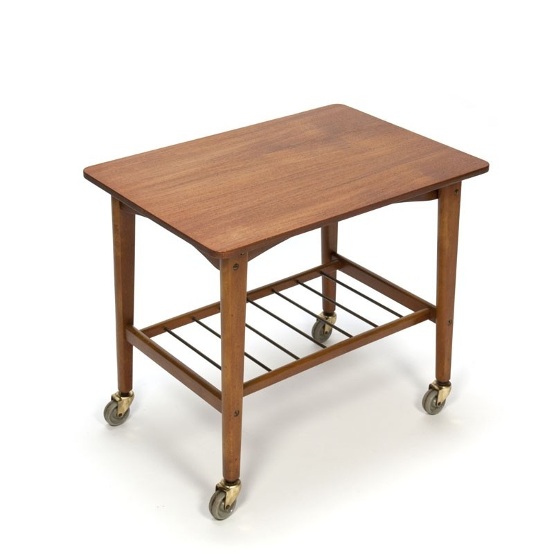 Vintage Danish side table on wheels