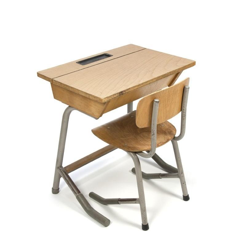 Vintage industrial children's desk with chair