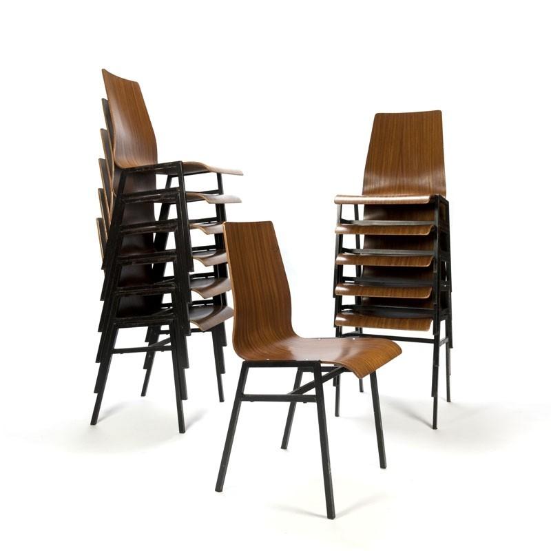 Partij vintage plywood stoelen
