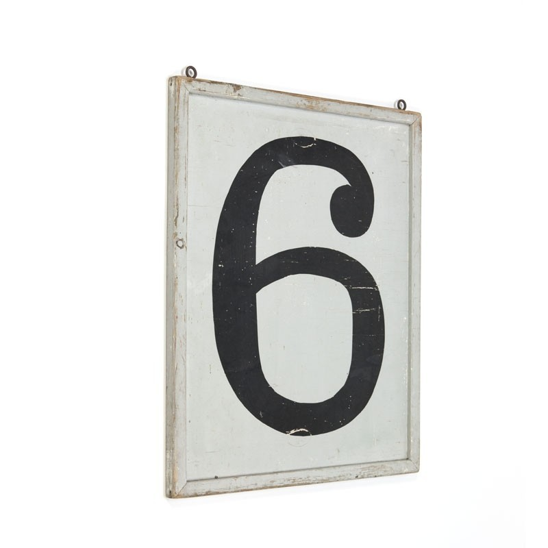 Vintage wall panel with numbers 5 and 6
