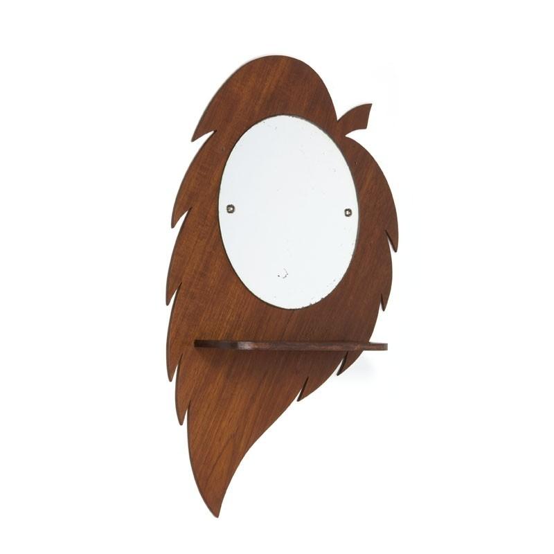 "Vintage teakhouten spiegel ""Blad"""