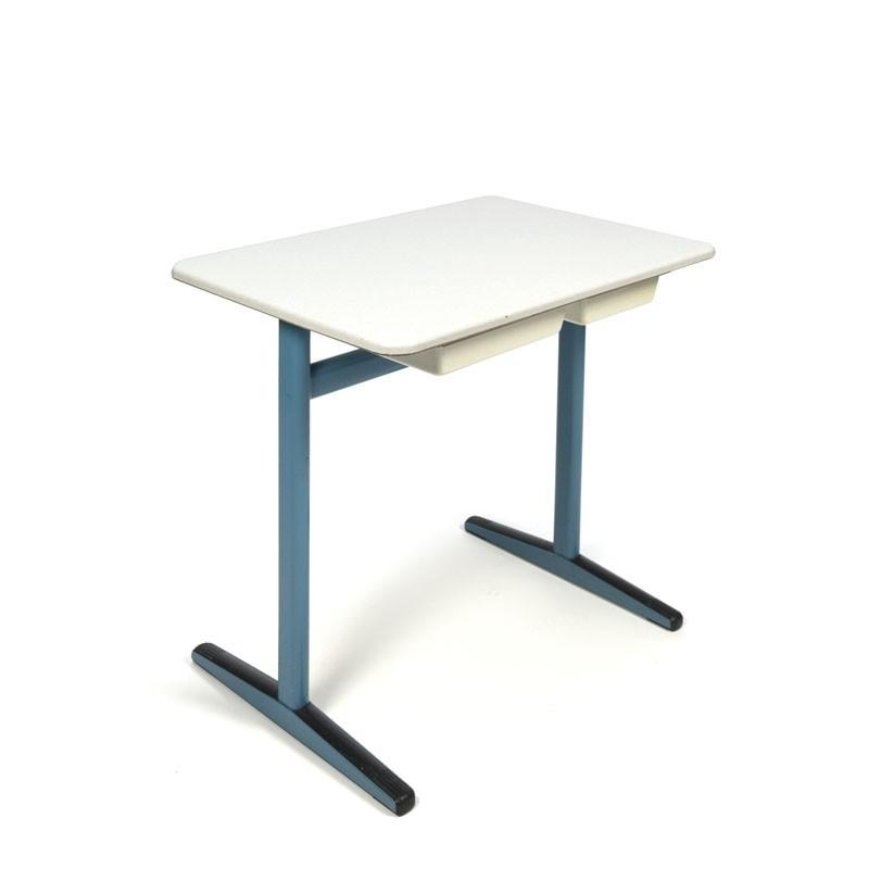 Vintage schooldesk for kids with blue frame